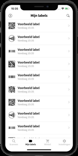 Afbeelding van de Spraaklabel app waarbij de Mijn labels tab is geopend.
