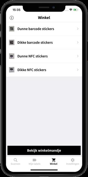 Afbeelding van de Spraaklabel app waarbij de Winkel tab is geopend.